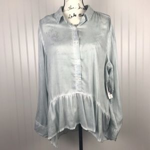 ANA Silver/Blue High/Low Button RayonBlouse